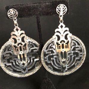 Designer LK Crystal and Silver Tone Earrings